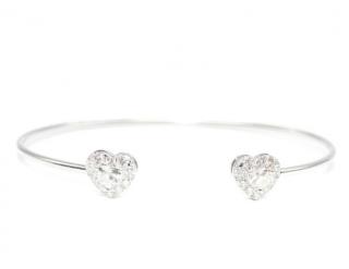Bespoke 18ct White Gold Heart Diamond Cuff Bangle