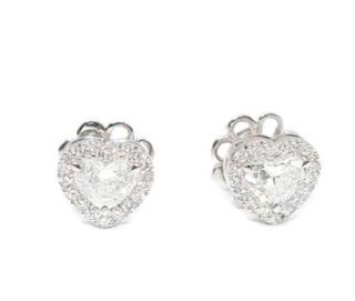Bespoke 18ct White Gold Diamond Halo Heart Earrings