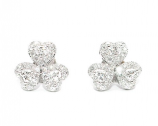 Bespoke 18ct White Gold Classic Triple Heart Diamond Earrings