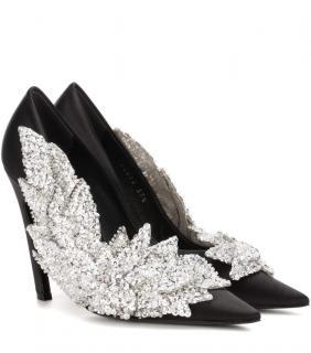Balenciaga Black Slash Sequin pumps