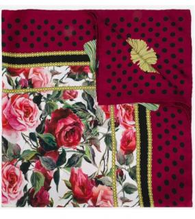 Dolce & Gabbana silk Red Roses Polka dot scarf
