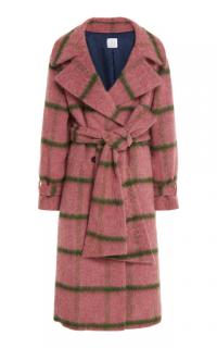 Stella Jean Pink Check Wool Coat