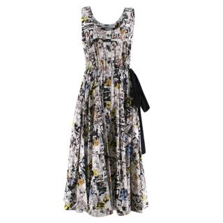 Prada Comic Print Midi Cotton Poplin Dress