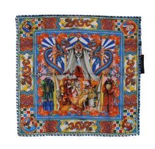 Dolce & Gabbana Maiolica Dragons printed silk scarf headscarf