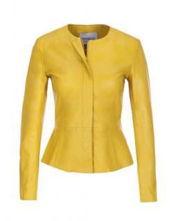 Max & Co fitted yellow leather  jacket