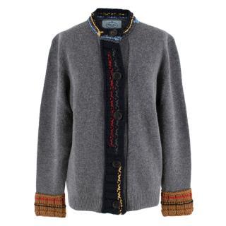 Prada Grey Virgin Wool Cardigan W/ Multicolour Knit Trim