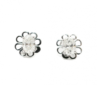 Bespoke White Gold 1.02ct Diamond Floral Stud Earrings