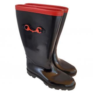 Gucci Black & Red Rain Boots
