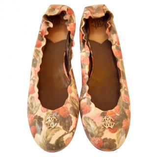 Roberto Cavalli Floral Print Ballerina Flats