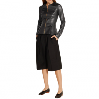 The Row Black Anasta leather jacket