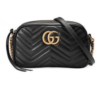 Gucci Black Marmont GG Shoulder Bag