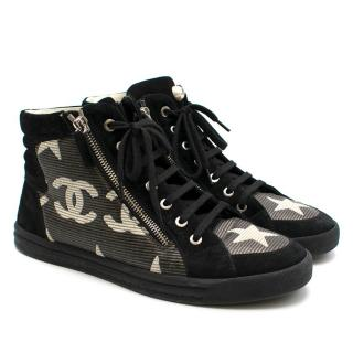 Chanel Canvas Suede Star Zipped High Top CC Sneakers