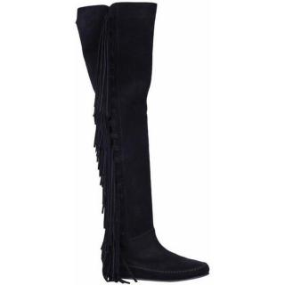 Etro Black Suede Fringed Boots