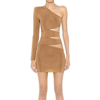 Balmain Nude Cut-Out One Shoulder Mini Dress