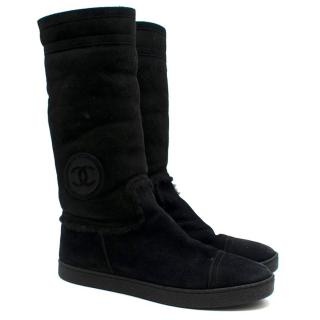 Chanel CC Embroidered Suede Shearling Lined Boots
