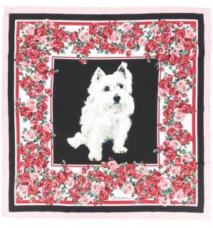 Dolce & Gabbana Rose Print Yorkie Silk Scarf