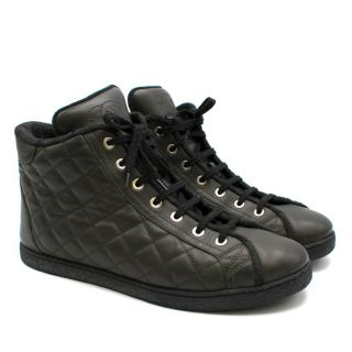 Chanel Quilted Leather High Top Sneakers With Tweed Lining