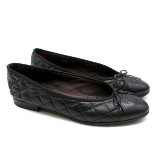 Chanel Quilted Leather Black Ballerina Flats