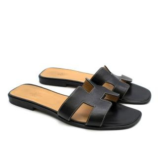 Hermes Black Leather Oran Sandals