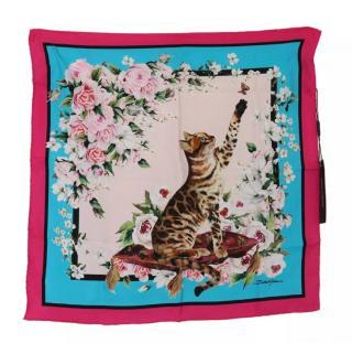 Dolce & Gabbana Bengal Cat Print Silk Wrap Scarf