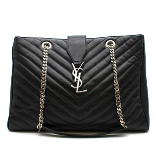 Saint Laurent Black Matelasse Chevron Shopper Tote