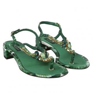 Dolce & Gabbana Banana Leaf Print Crystal Embellished Sandals