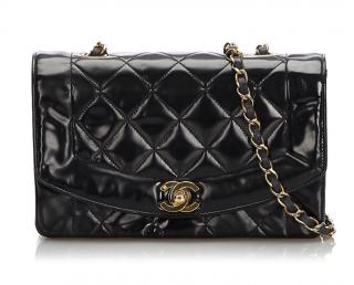 Chanel Patent Leather Diana Flap Shoulder Bag