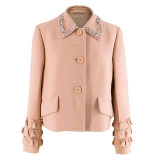 Miu Miu Pink Crystal Embellished Ruffle Hem Jacket