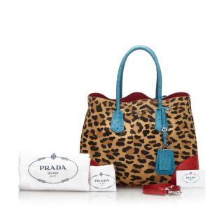 Prada Leopard Print Calf Hair Ostrich Double Tote Bag