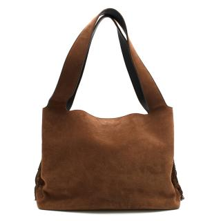 The Row Suede Duplex Fringe Hobo Tote