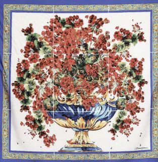 Dolce & Gabbana Majolica Vase Print Silk Scarf