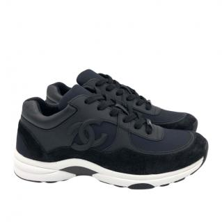 Chanel Black CC Suede, Leather & Nylon Sneakers