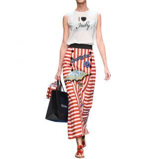 Dolce & Gabbana Silk Crepe De Chine I Love Italy Sleeveless Top