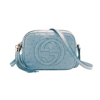 Gucci Blue Ostrich Soho Disco Bag