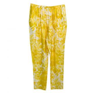 Stella McCartney Yellow Silk Printed Trousers
