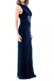 Fendi navy blue velvet heart detail gown