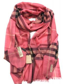 Burberry giant check gauze scarf in pink