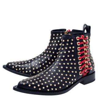Alexander McQueen Black Studded Leather Boots