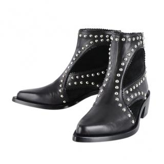 Alexander McQueen Studded Black Ankle Boots