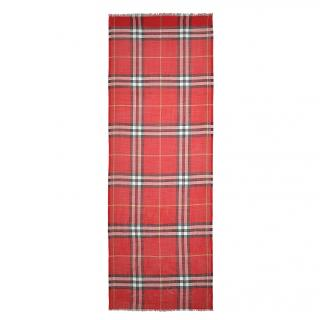 Burberry Gauze Giant Check Scarf In Bright Military Red Wool And Silk