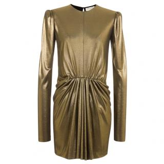 Saint Laurent Gold Long Sleeve Mini Dress W/ Gathered Waist
