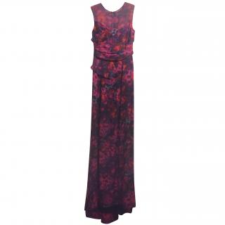 Erdem Purple & Pink Draped Illusion Neck Gown