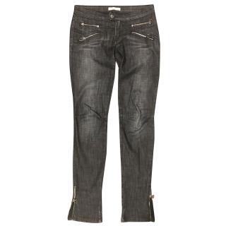 Pierre Balmain Black Zip Detail Biker Jeans