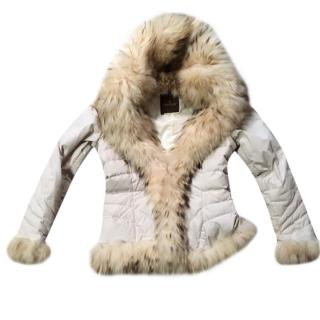 Moncler Ivory Coat With Fox Fur Collar & Cuffs