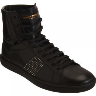 Saint Laurent Men's Studded Black HIgh Top Sneakers