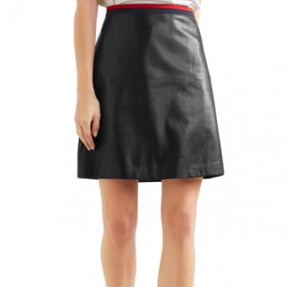 Gucci Grosgrain-trimmed Leather Mini Skirt