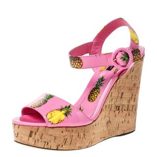 Dolce & Gabbana Pink Pineapple Print Wedge Sandals