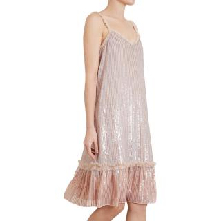 Needle & Thread pink gloss sequin and mesh dress