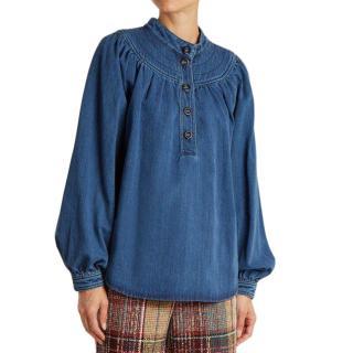 Chloe Long-sleeved Gathered-yoke Denim Shirt In Blue