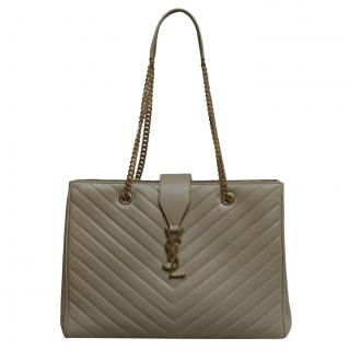 Saint Laurent Taupe Matelasse Chevron Tote Bag